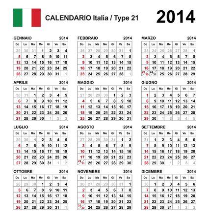Calendar 2014 italy Stock Vector - 17850974