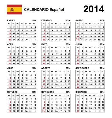 Calendar 2014 spain  Stock Vector - 17850960