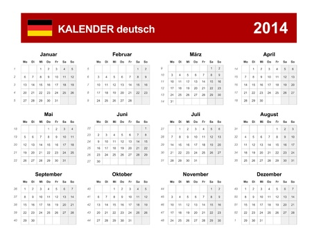 Kalender 2014 deutsch Type  Vector