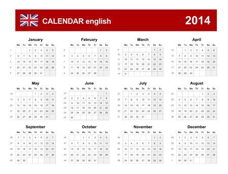 Calendar 2014 English Type  Stock Vector - 17850569