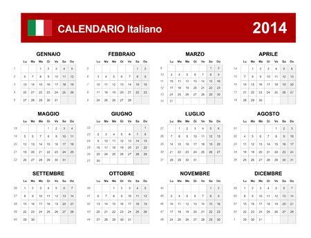 Calendar 2014 Italy Type  Vector