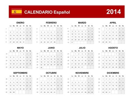 Calendar 2014 Spain  Vector