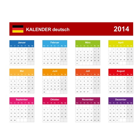 Kalender 2014 deutsch   Vector