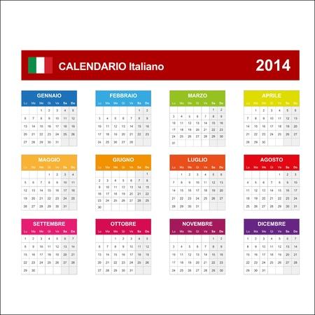 Calendar 2014 Italy   Vector