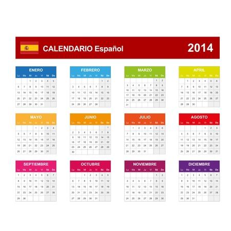 Calendar 2014 Spain Stock Vector - 17850936