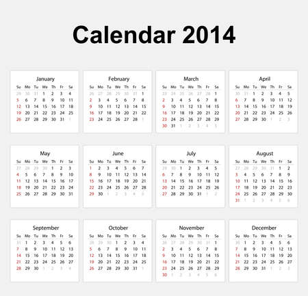 Calendar 2014 English Type Stock Vector - 17850557