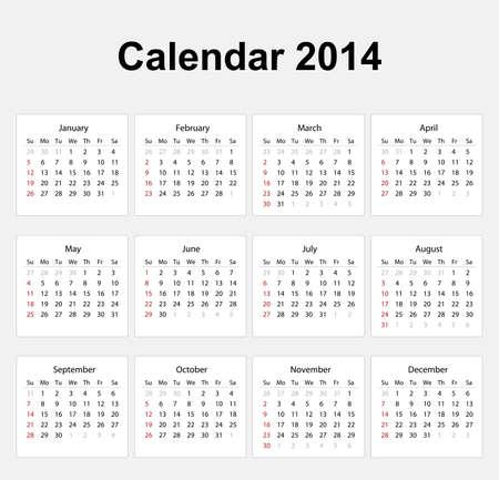Calendar 2014 English Type Stock Vector - 17850557