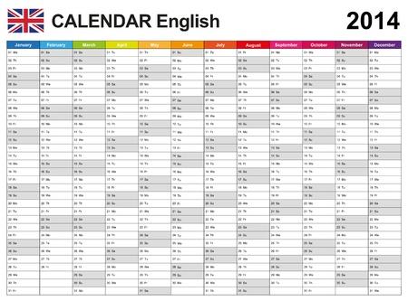 カレンダー 2014年英語