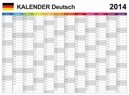 Calendar 2014 German  Vector