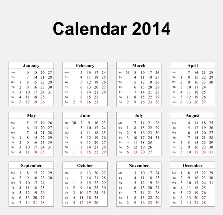 Calendar 2014 English  Stock Vector - 17850935