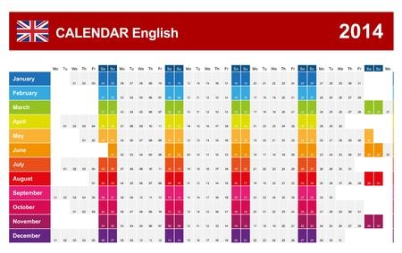Calendar 2014 English Type  Stock Vector - 17850565