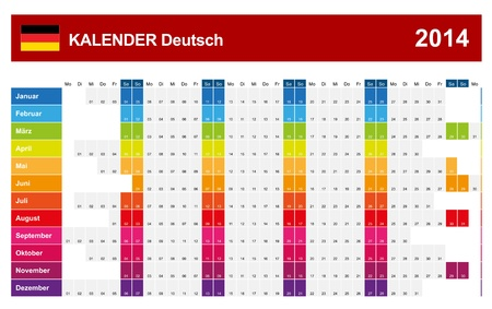 Calendar 2014 German Type Stock Vector - 17850559
