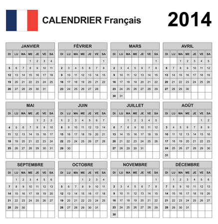 Calendar 2014 French  Vector