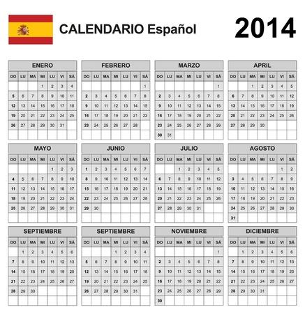 Calendar 2014 Spain  Stock Vector - 17850958