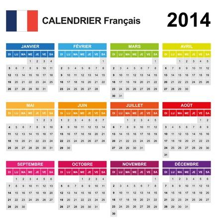 Calendar 2014 French  Stock Vector - 17850945