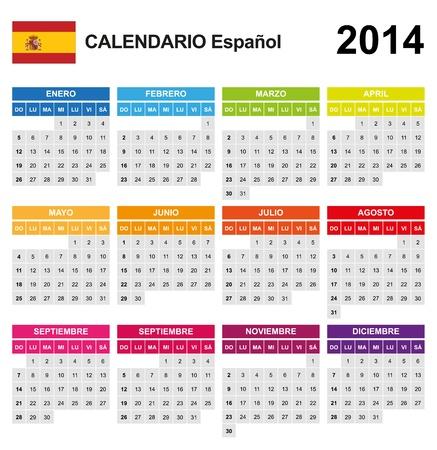 Calendar 2014 Spain  Stock Vector - 17850959