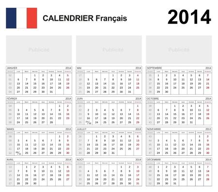 Calendar 2014 French Stock Vector - 17850969