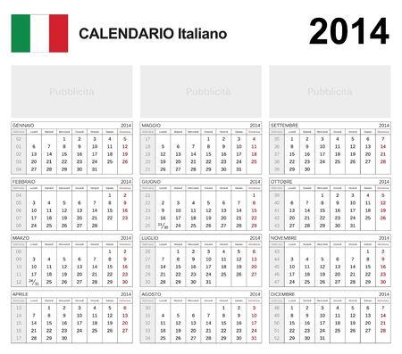 Calendar 2014 Italy  Stock Vector - 17850985