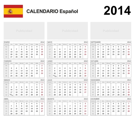 Calendar 2014 Spain  Illustration