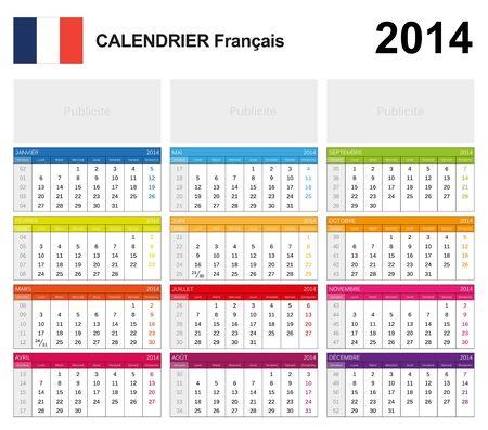 Calendar 2014 French Stock Vector - 17850965
