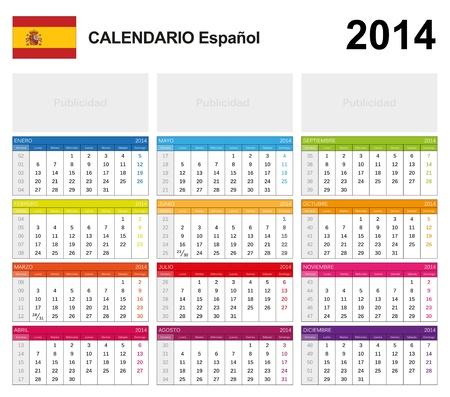 Calendar 2014 Spain Stock Vector - 17850987