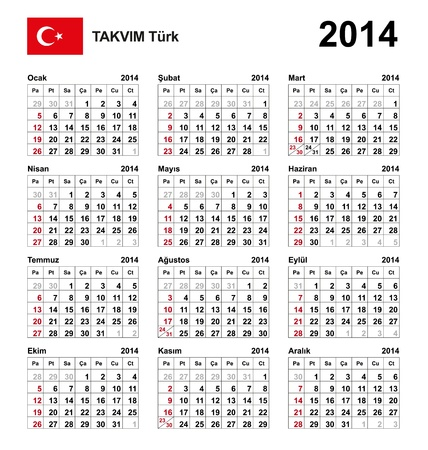 Calendar 2014 Turkey  Stock Vector - 17909829