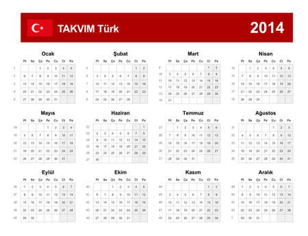 Calendar 2014 Turkey Type Stock Vector - 17909827