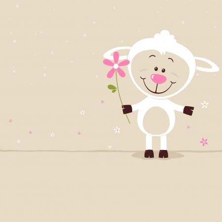 꽃과 사랑스러운 양 일러스트