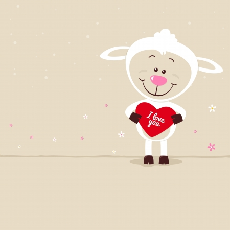 Lovely sheep with red heart Vector