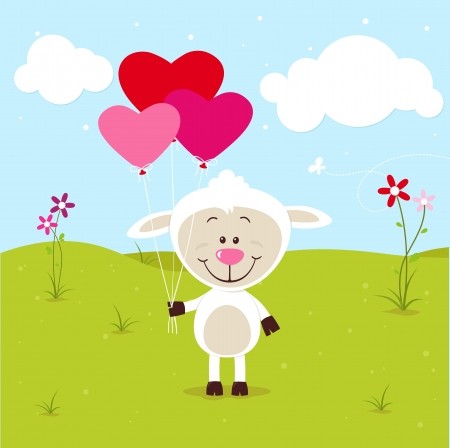 sheep love: Lovely sheep with balloons Illustration