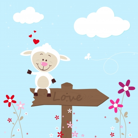 Lovely sheep on signboard Vector