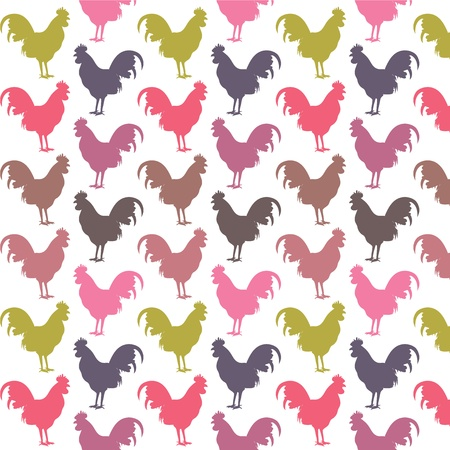 Colorful cock pattern Stock Vector - 17909857