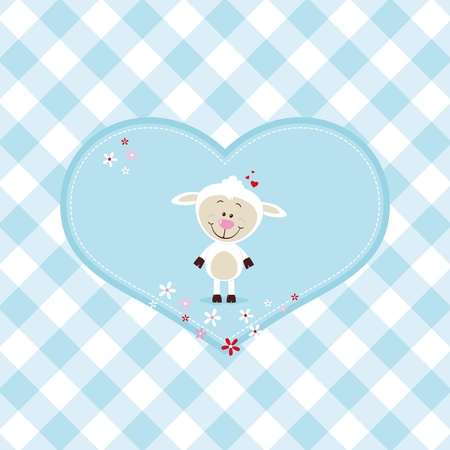 Lovely sheep in a big heart Vector