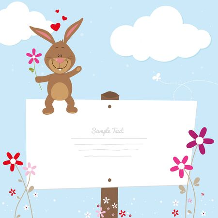 snatch: Lovely bunny with signboard Illustration