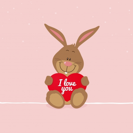 Lovely bunny with big red heart Vector