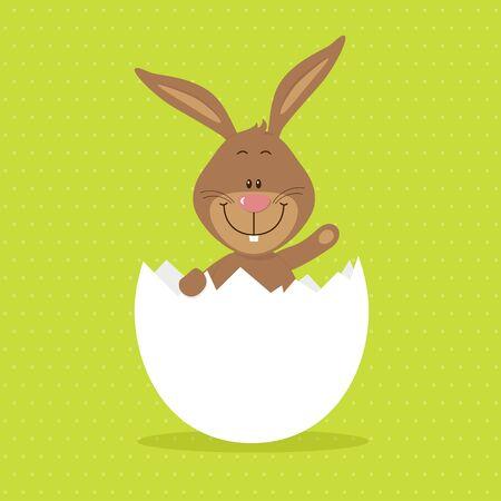 Lovely bunny in big egg Vector