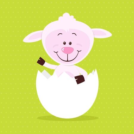 snatch: Lovely sheep in big egg Illustration