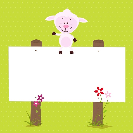 Lovely sheep with big signboard Vector