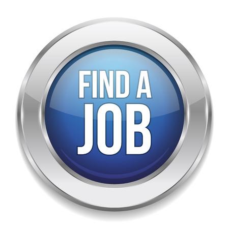 Blue round find a job button Vector