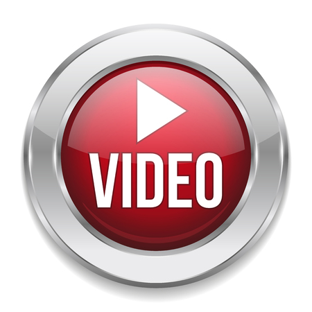 Red silver video button Vector