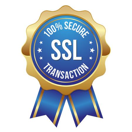 Blue gold secure transaction badge Illustration
