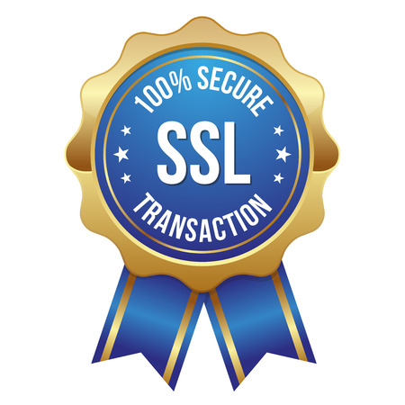 encryption: Blue gold secure transaction badge Illustration