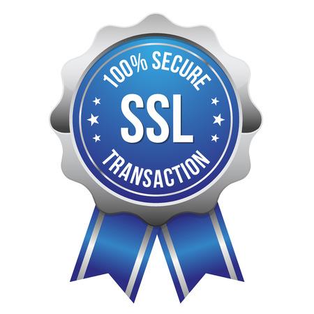 Blue silver secure transaction badge