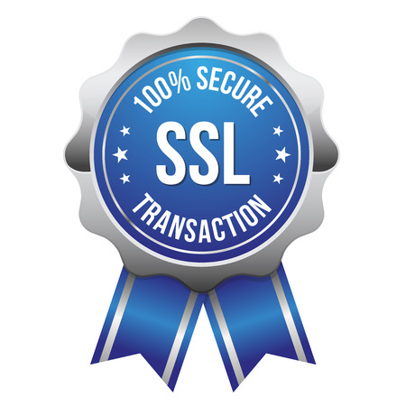 Blue silver secure transaction badge