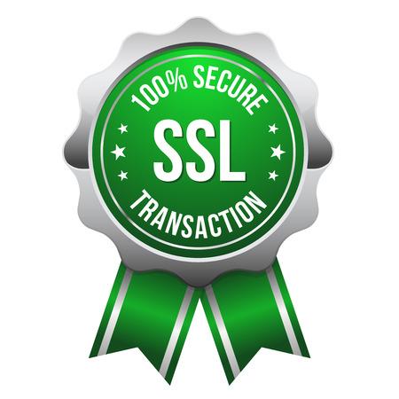 Green silver secure transaction badge Illustration