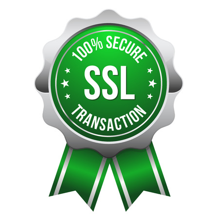 secure payment: Green silver secure transaction badge Illustration