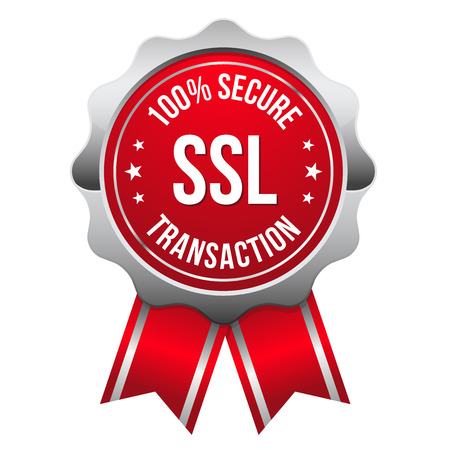 authentication: Red silver secure transaction badge