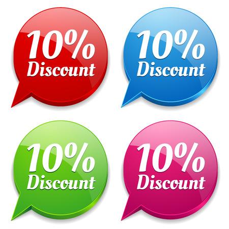 Colorful round ten percent discount speech bubbles Vector