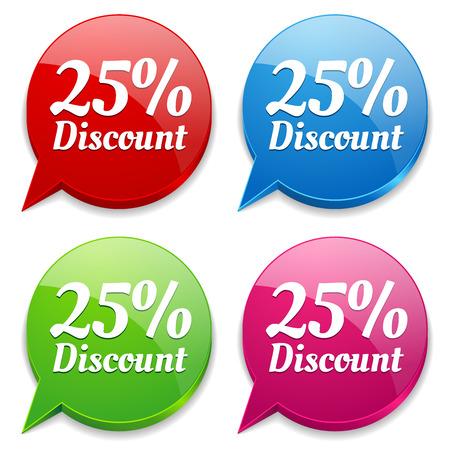 Colorful round twenty-five percent discount speech bubbles