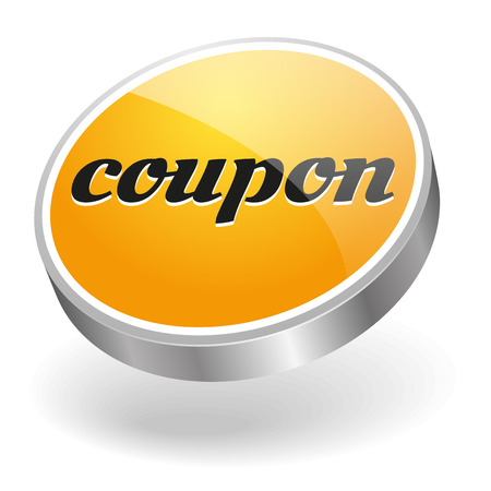 Yellow silver coupon button Vector